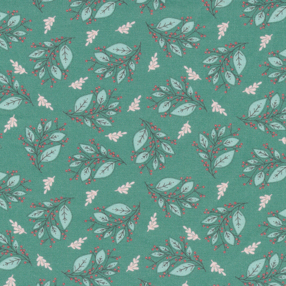 Pink and teal sprigs tossed on a teal background | Shabby Fabrics