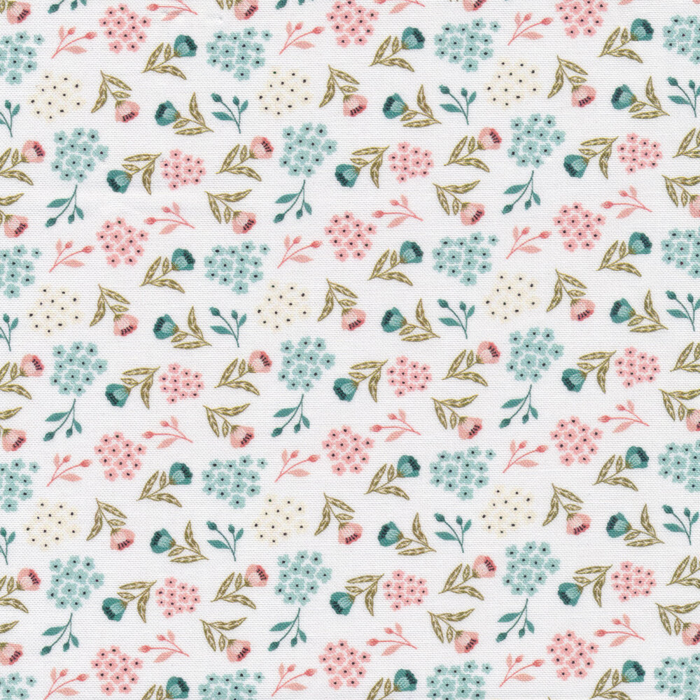 Tossed floral sprigs on a white background | Shabby Fabrics