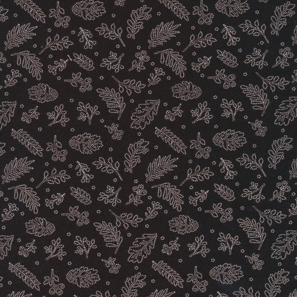 White dotted sprigs tossed on a black background | Shabby Fabrics