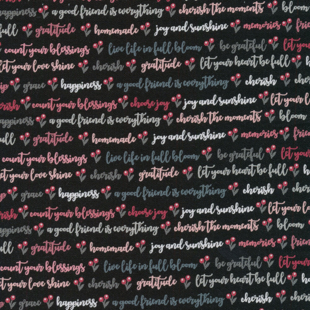 Cursive pink, gray, and white words on a black background | Shabby Fabrics