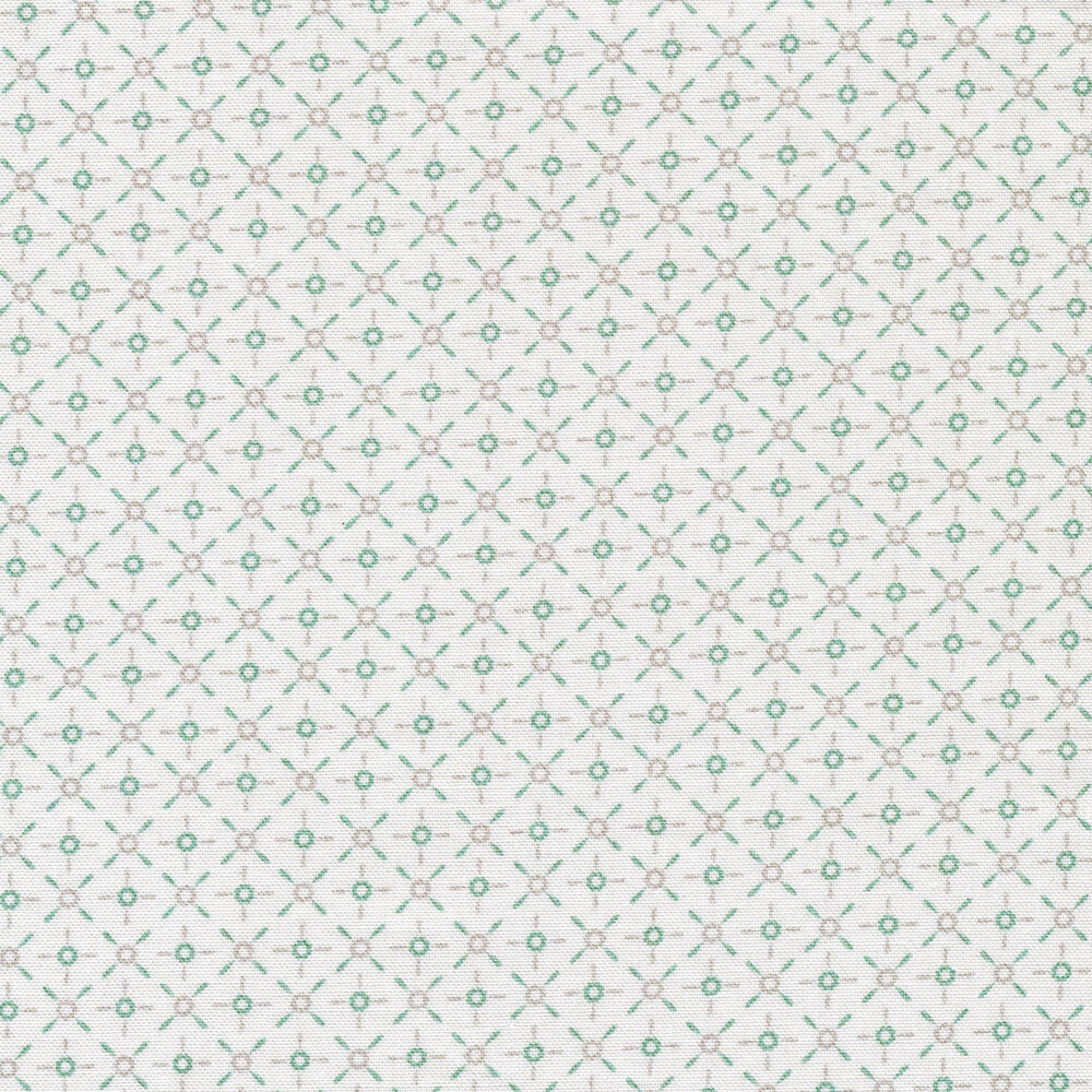 Light teal and gray dashes and circles on a white background | Shabby Fabrics