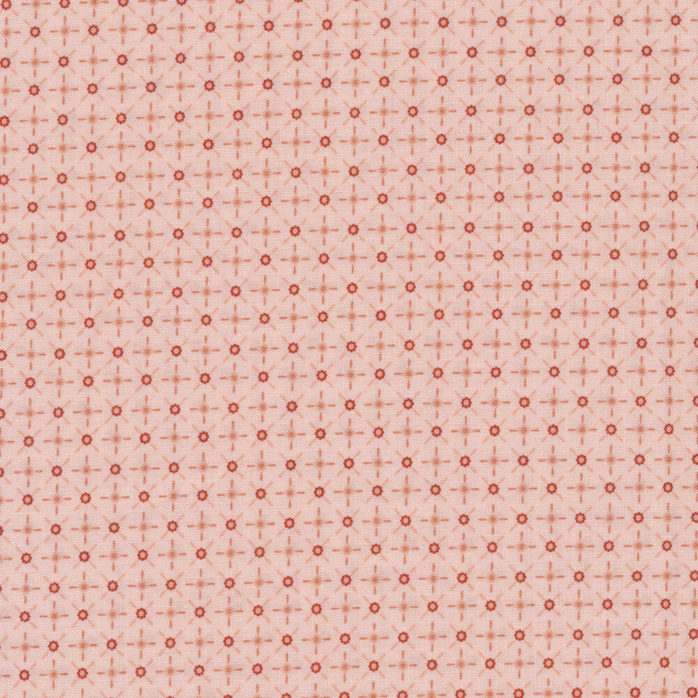 Red dots and dashes on a pink background   Shabby Fabrics