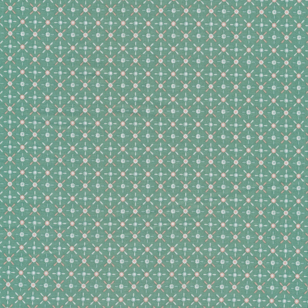 Light teal and gray dashes and circles on a teal background | Shabby Fabrics