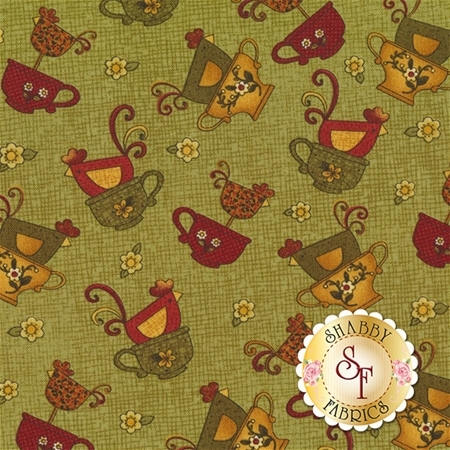 Chicks On The Run 3111-44 Chicks & Cups Green by Cheryl Haynes for Benartex Fabrics