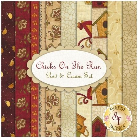 Chicks On The Run  9 FQ Set - Red & Cream Set  by Cheryl Haynes for Benartex Fabrics