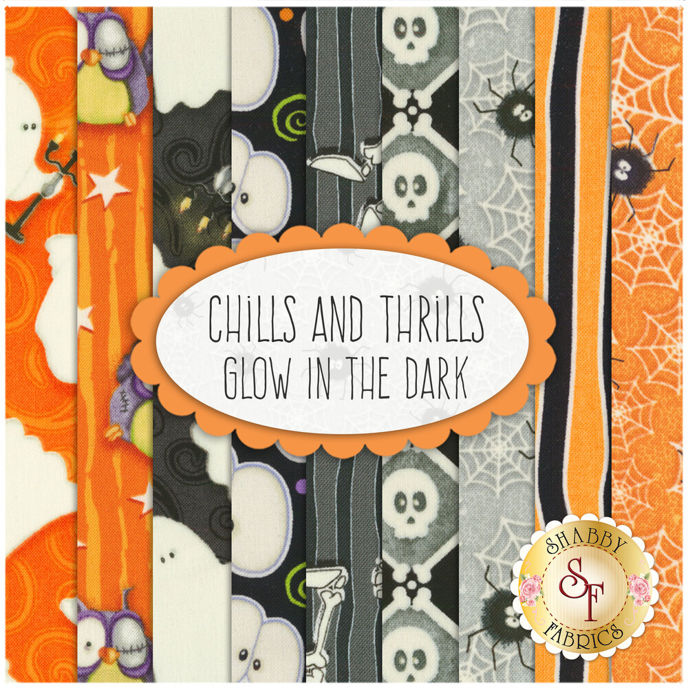 Chills And Thrills Glow In The Dark  9 FQ Set by Henry Glass Fabrics