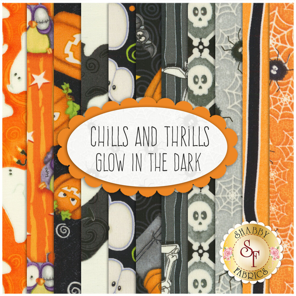 Chills And Thrills Glow In The Dark  11 FQ Set by Henry Glass Fabrics