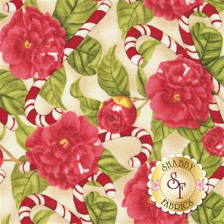 Christmas In The Wildwood 33806-273 Florals & Candy Canes Tan by Nancy Minks for Wilmington Prints