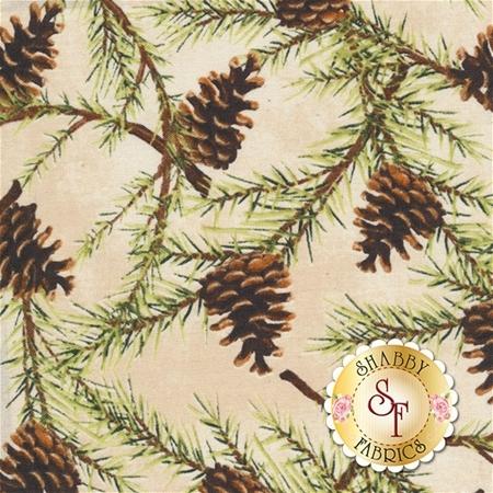 Christmas In The Wildwood 33807-227 Pinecones Tan by Nancy Minks for Wilmington Prints