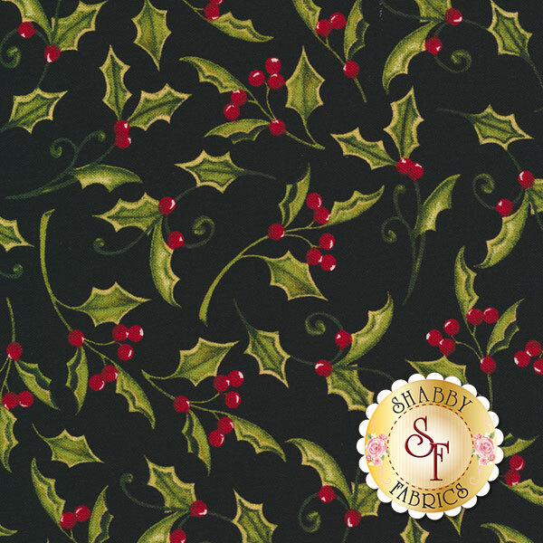 Christmas In The Wildwood 33808-937 Holly Black by Nancy Minks for Wilmington Prints