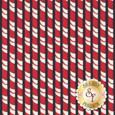 Christmas In The Wildwood 33810-931 Candy Cane Stripe Black by Nancy Minks for Wilmington Prints