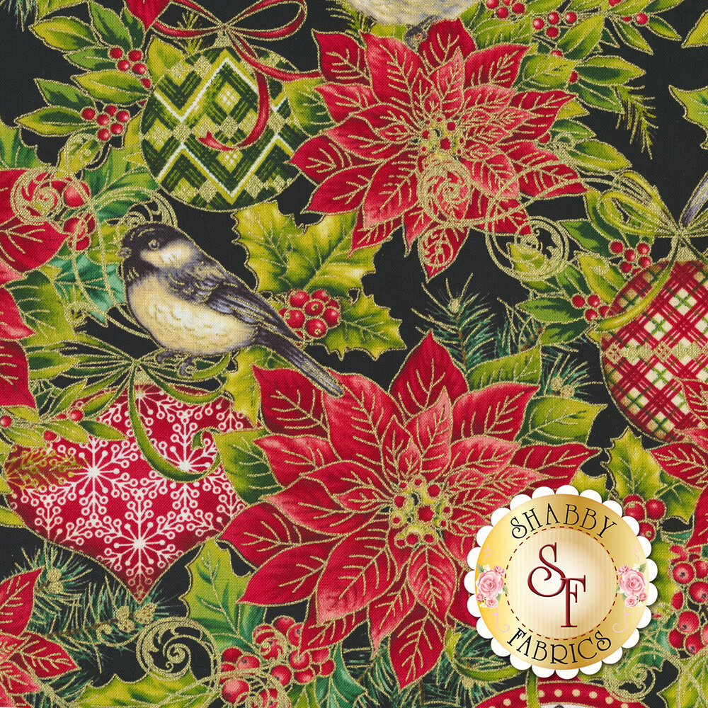 Christmas ornaments and metallic accents   Shabby Fabrics