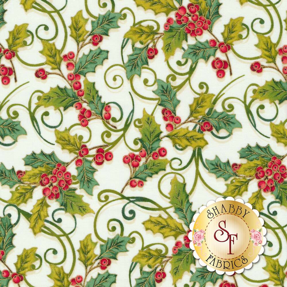 Holly and berries on a white background | Shabby Fabrics
