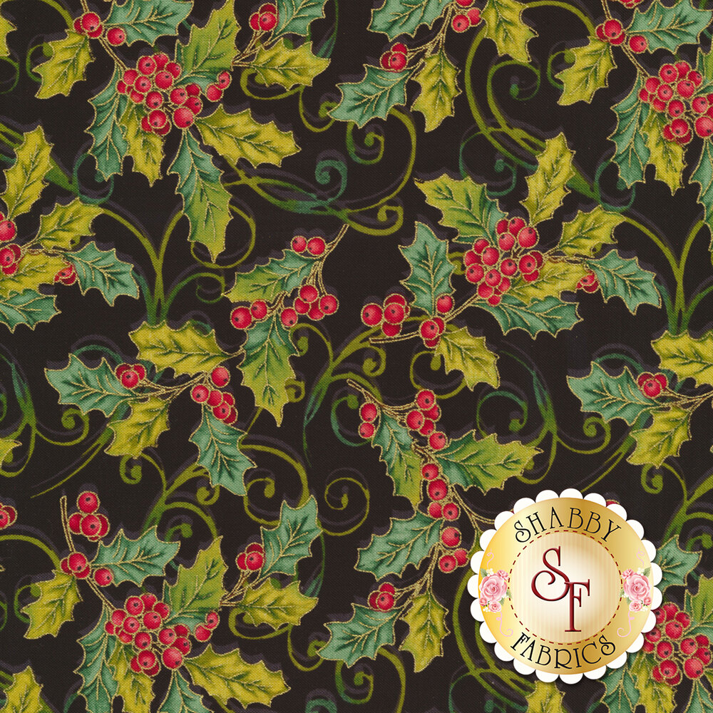 Holly and berries on a black background   Shabby Fabrics