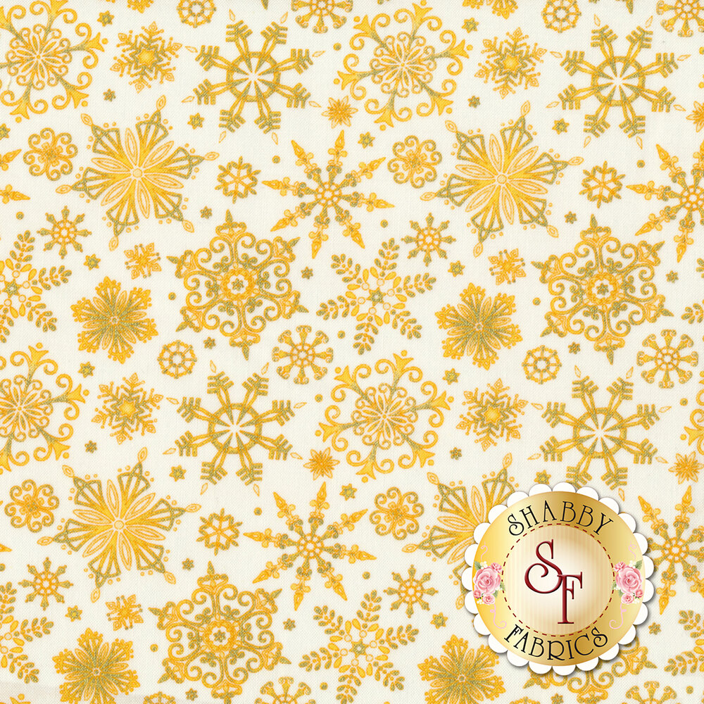 Gold snowflakes on a white background | Shabby Fabrics