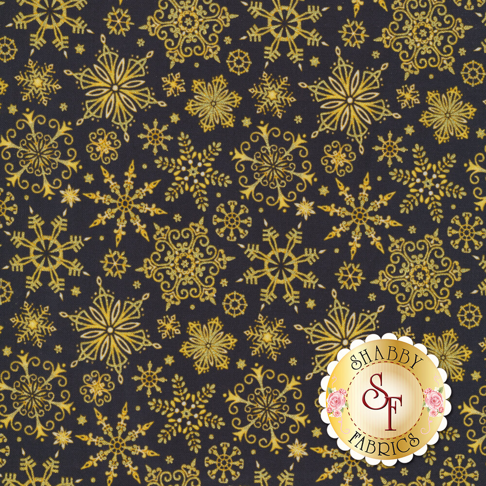Gold snowflakes on a black background | Shabby Fabrics