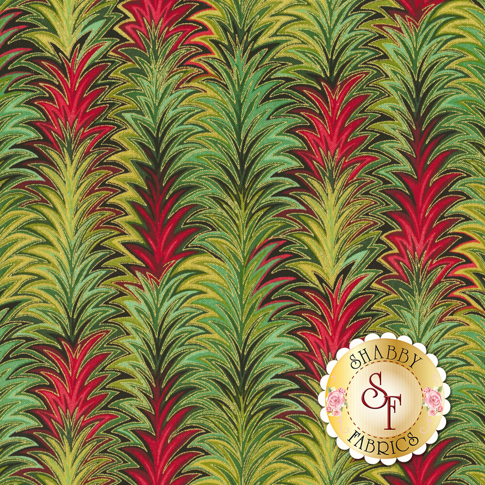 Red and green Christmas design with metallic gold | Shabby Fabrics