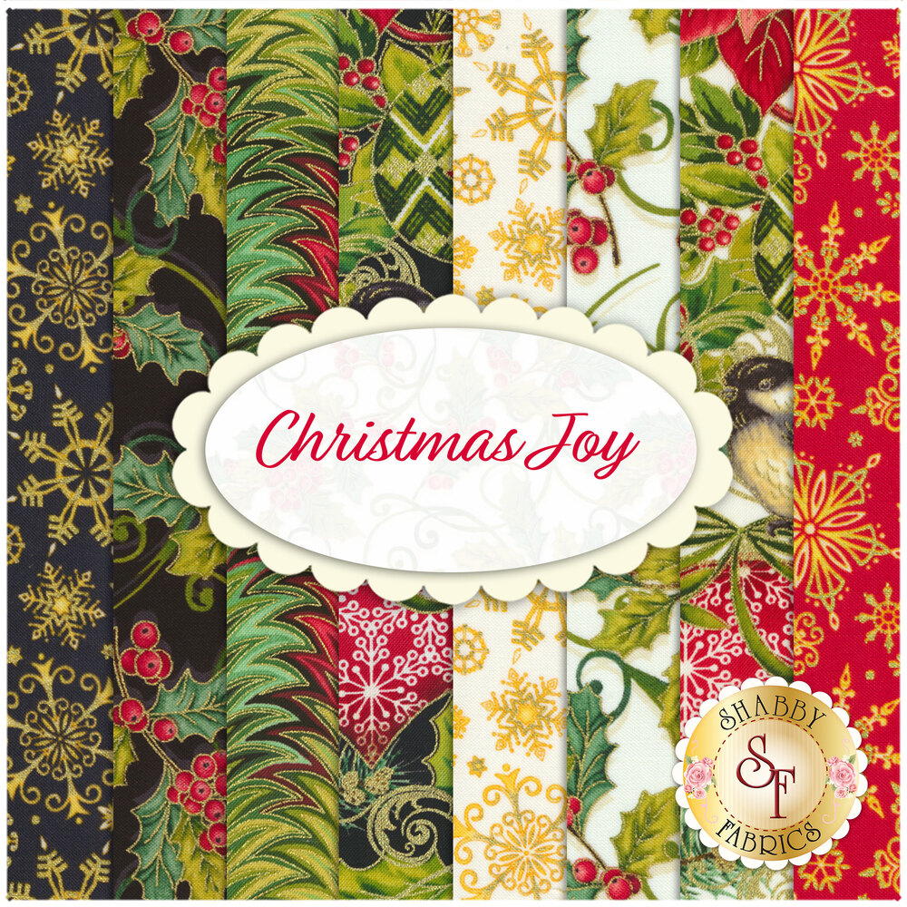 Collage of 8 Christmas themed fat quarters | Shabby Fabrics