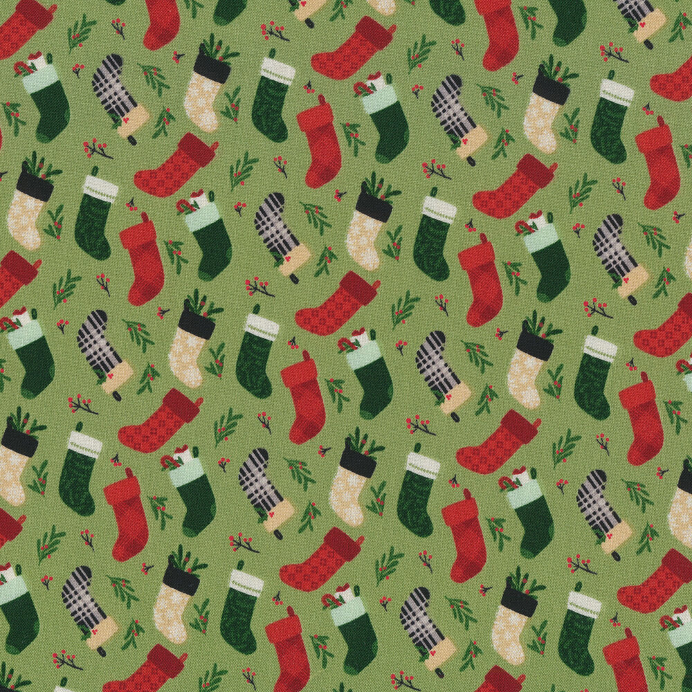 Tossed stockings on green | Shabby Fabrics