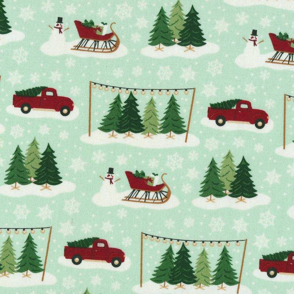 Trucks, snowmen, and trees on mint | Shabby Fabrics