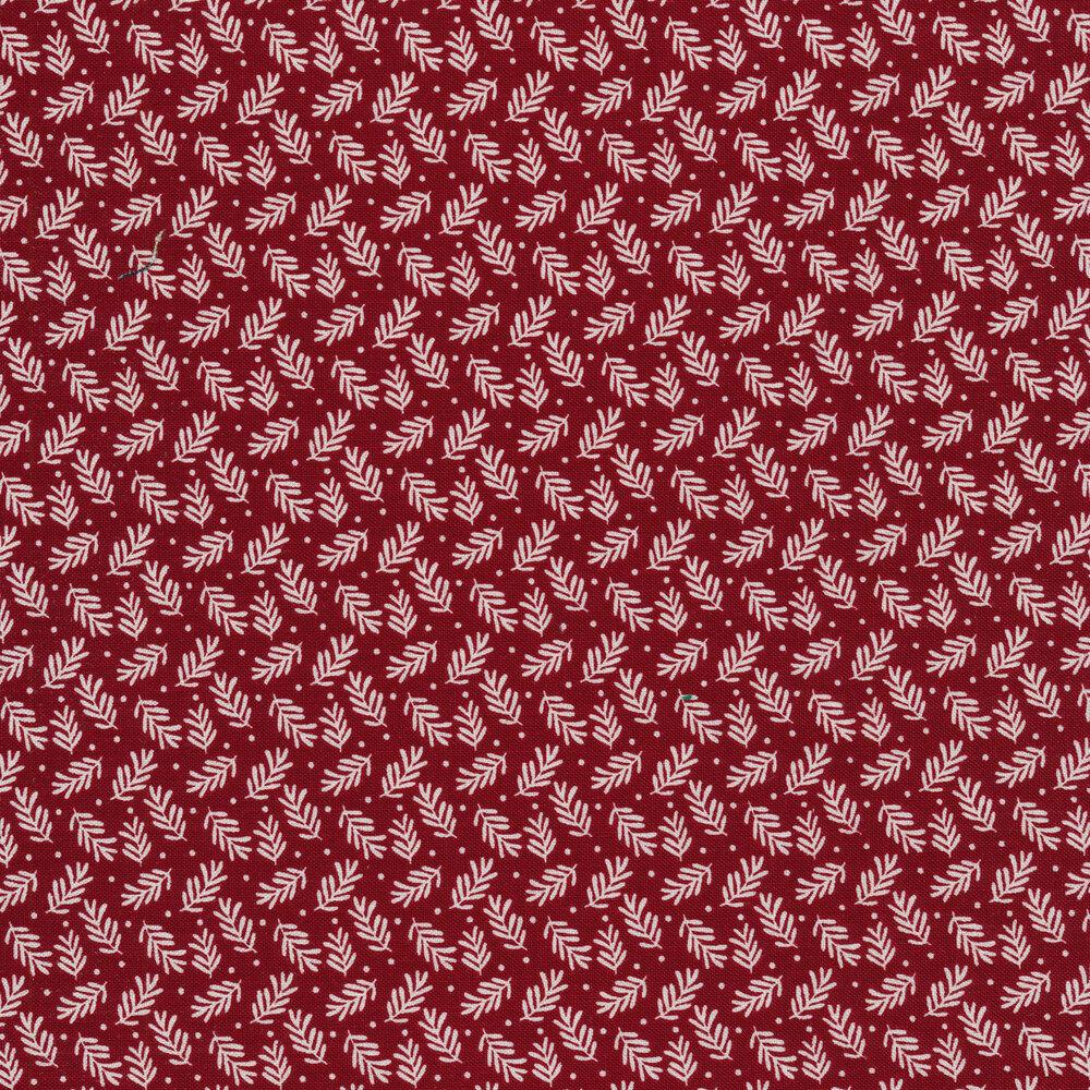 Tossed white leaf print on red | Shabby Fabrics