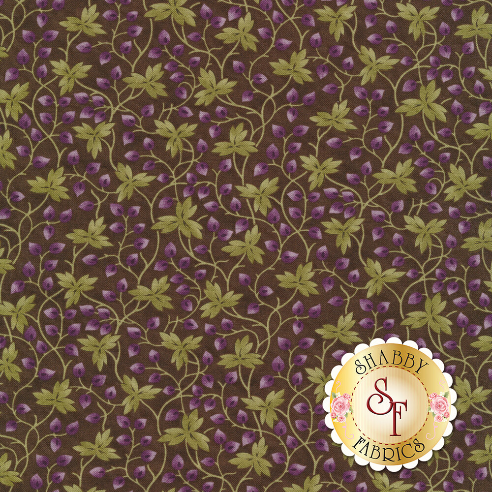 Green and purple leaves trailing on vines on purple | Shabby Fabrics