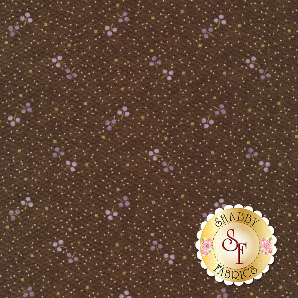 Scattered dots and purple three leaf clovers on brown | Shabby Fabrics
