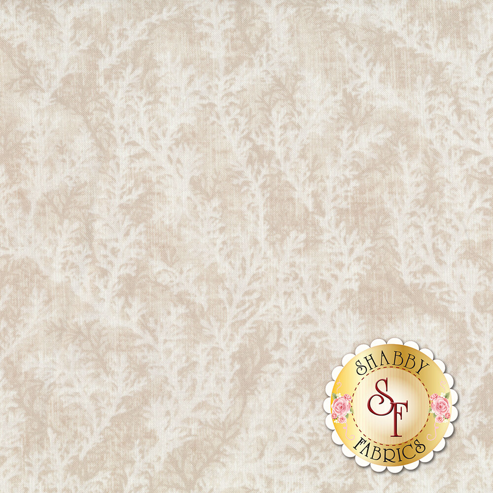 Repeating coral on a cream fabric | Shabby Fabrics