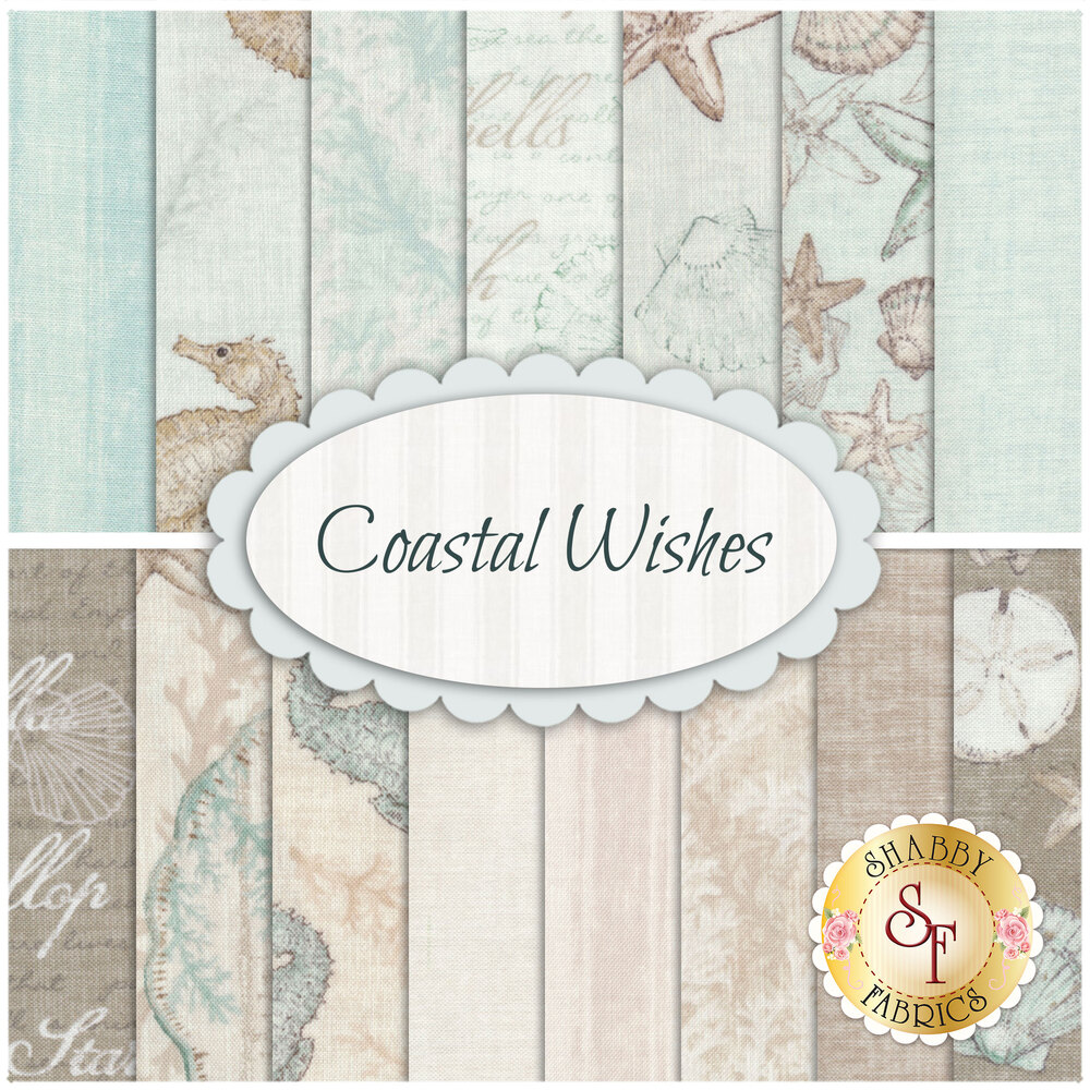 A collage of fabrics included in the Coastal Wishes fat quarter set | Shabby Fabrics
