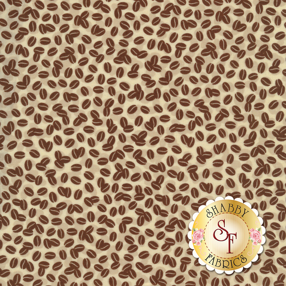 Tossed coffee beans all over a cream background | Shabby Fabrics