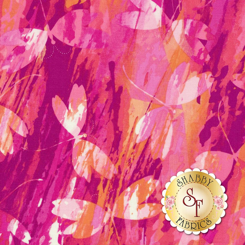 Color Calypso C8833-28 Calypso Dragonfly Berry/Orange by Benartex Fabrics REM #3