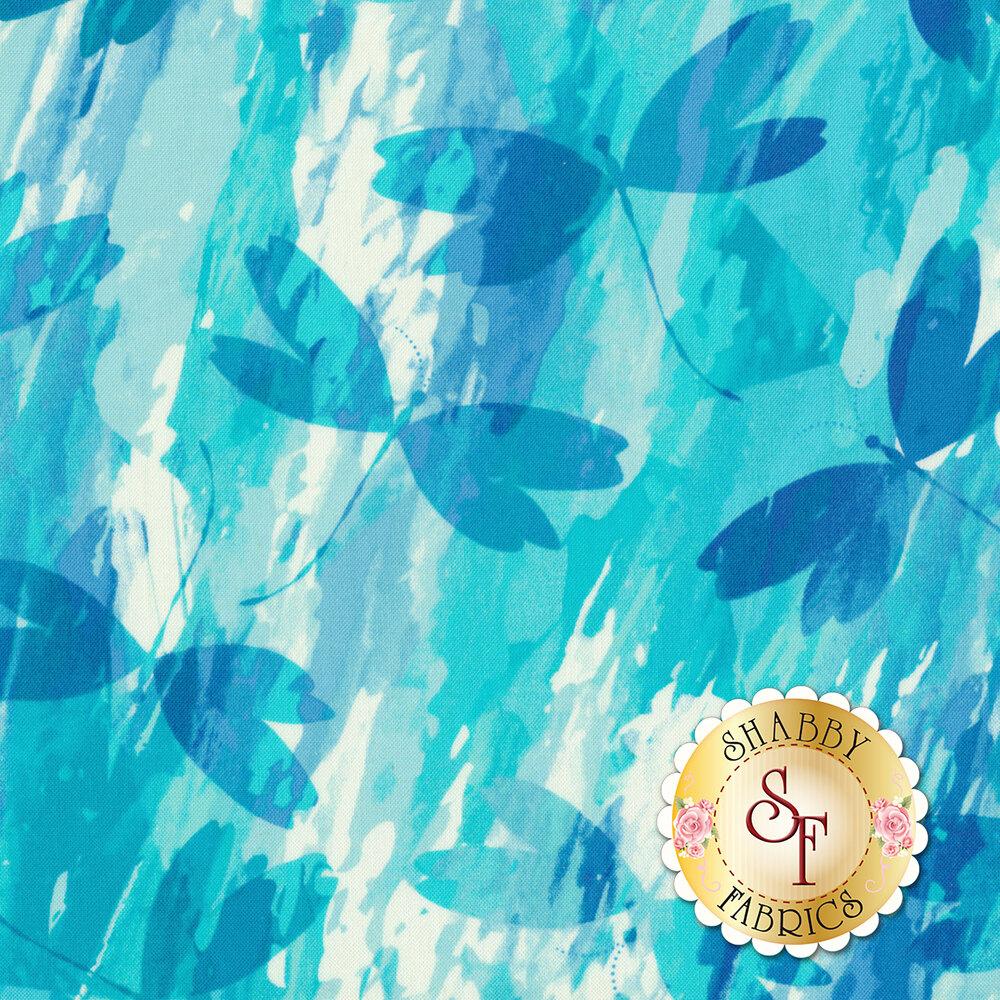 Color Calypso C8833-84 Calypso Dragonfly Turquoise/White by Benartex Fabrics