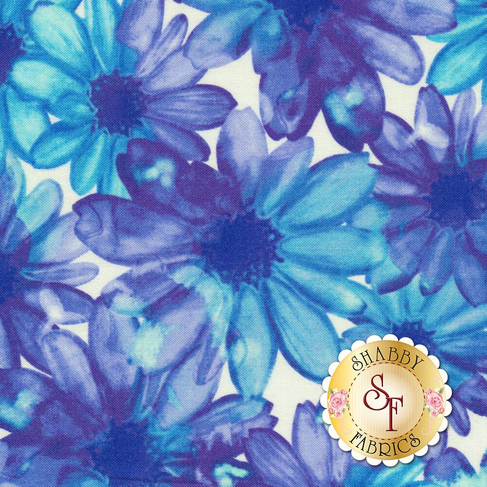 Color Calypso C8840-09 Color Kissed Flowers White/Blue by Benartex Fabrics