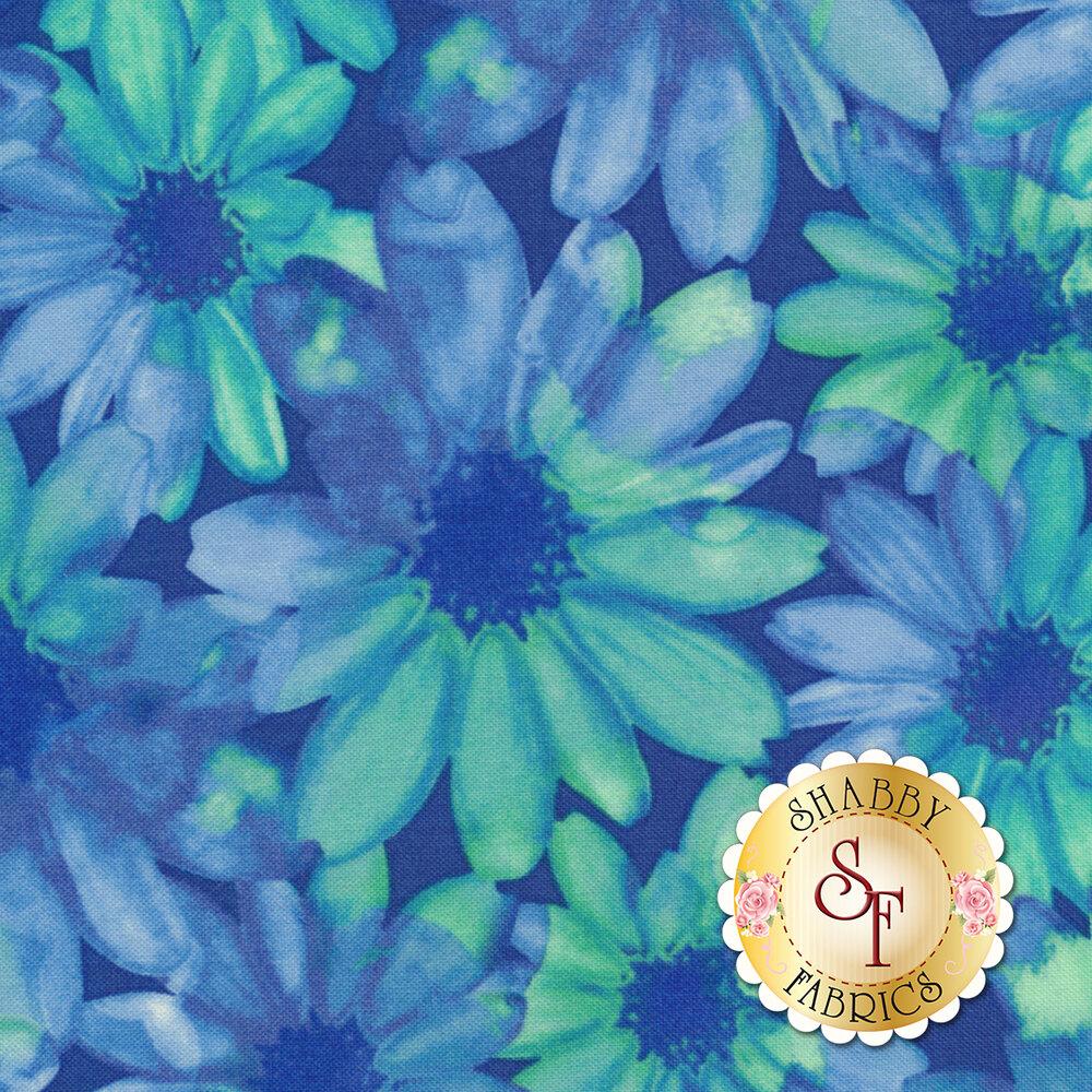 Color Calypso C8840-54 Color Kissed Flowers Navy/Jade by Benartex Fabrics