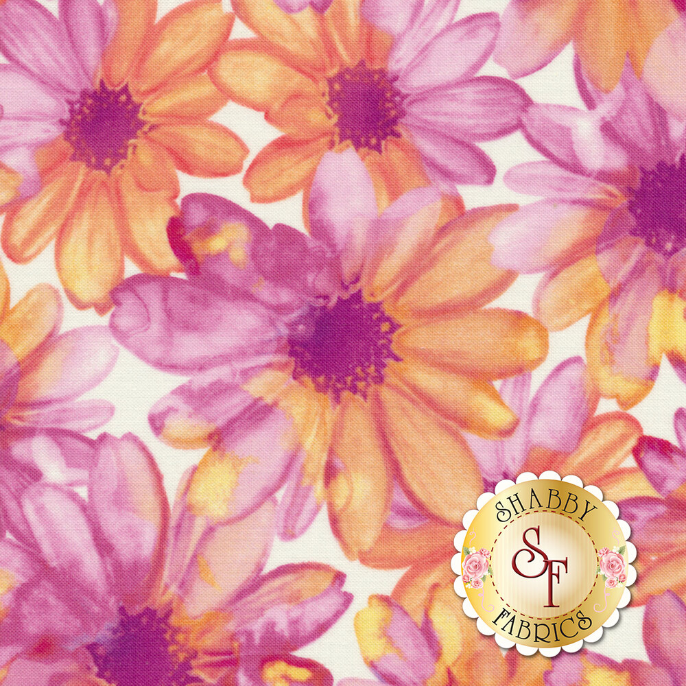 Color Calypso C8840-60 Color Kissed Flowers White/Violet by Benartex Fabrics