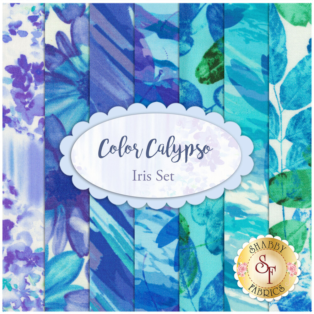 Collage of fabrics included in Color Calypso set | Shabby Fabrics
