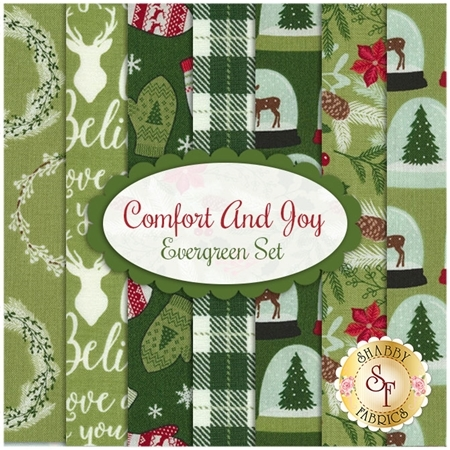 Comfort And Joy  7 FQ Set - Evergreen Set by Dani Mogstad for Riley Blake Designs