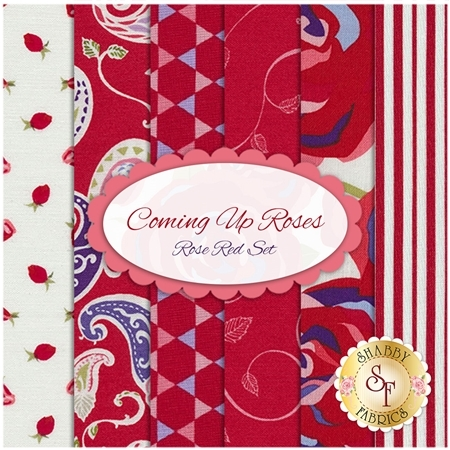 Coming Up Roses  6 FQ Set - Rose Red Set by Jill Finley for Penny Rose Fabrics