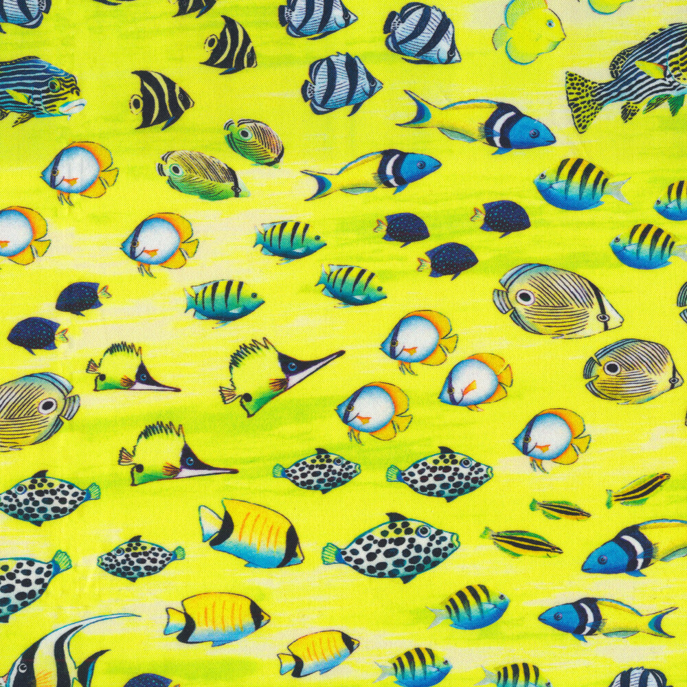 Ocean fish all over a yellow mottled background | Shabby Fabrics