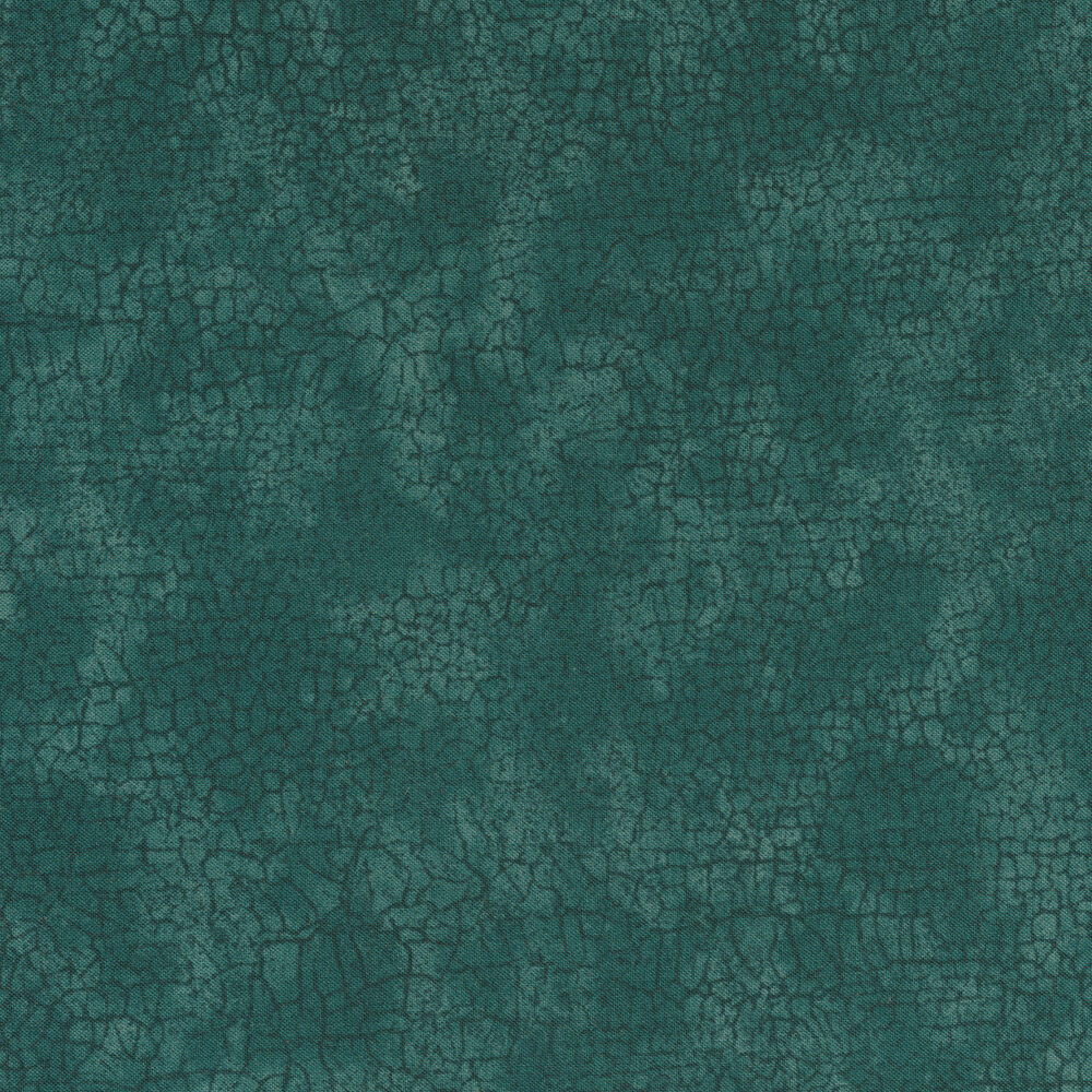 Dark teal cracks all over a mottled teal background | Shabby Fabrics