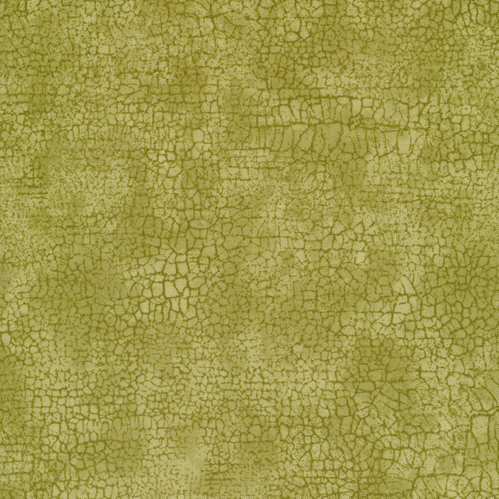 Green cracks all over a mottled green background | Shabby Fabrics