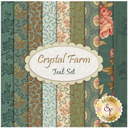 Crystal Farm  9 FQ Set - Teal Set by Edyta Sitar for Andover Fabrics