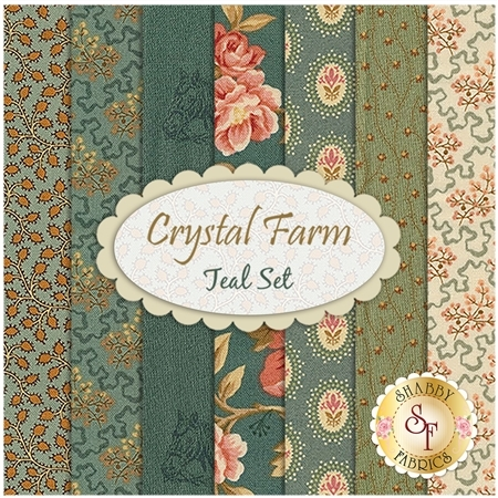 Crystal Farm  7 FQ Set - Teal Set by Edyta Sitar for Andover Fabrics