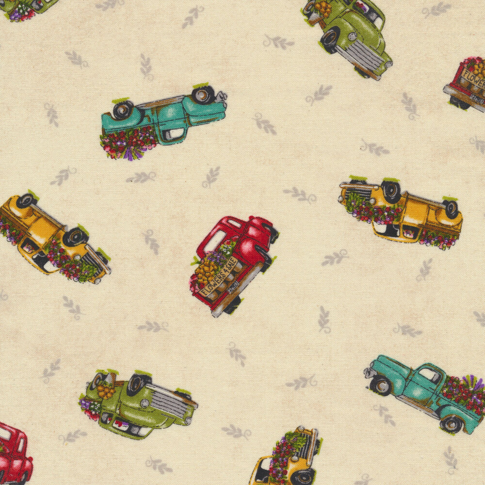 Tossed green and turquoise trucks on tan ditsy | Shabby Fabrics