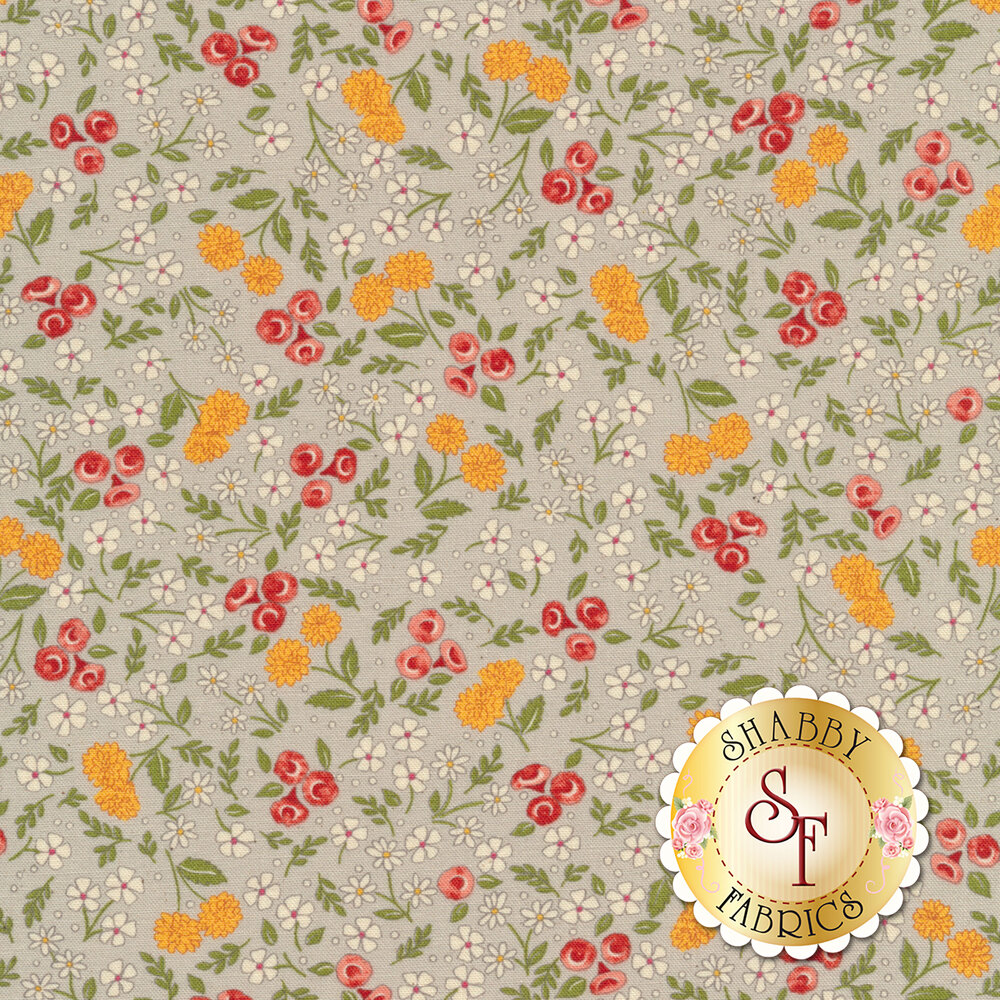 Tossed yellow red and white florals on grey | Shabby Fabrics