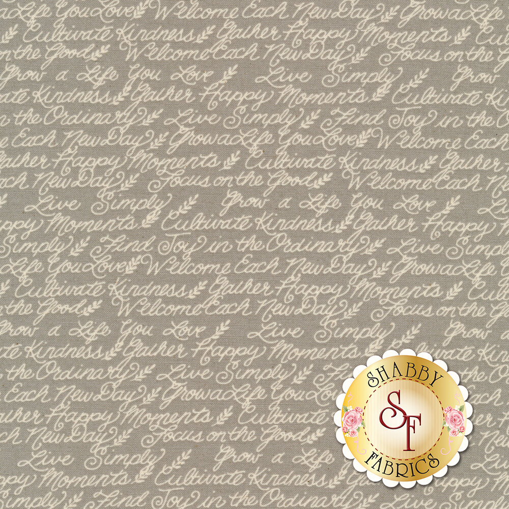 Cream motivational phrases on grey | Shabby Fabrics