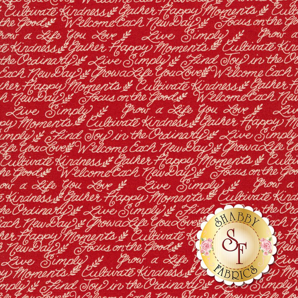 Ivory motivational phrases on red | Shabby Fabrics