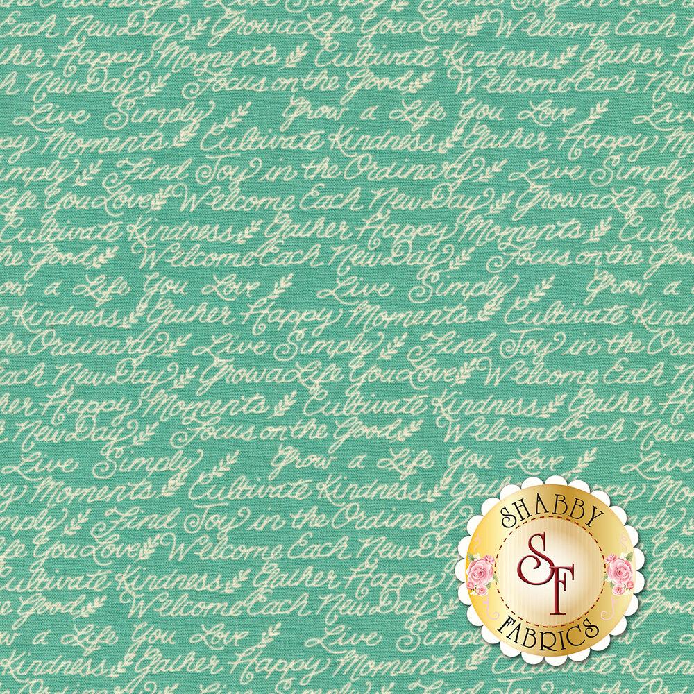 Ivory motivational phrases on aqua | Shabby Fabrics