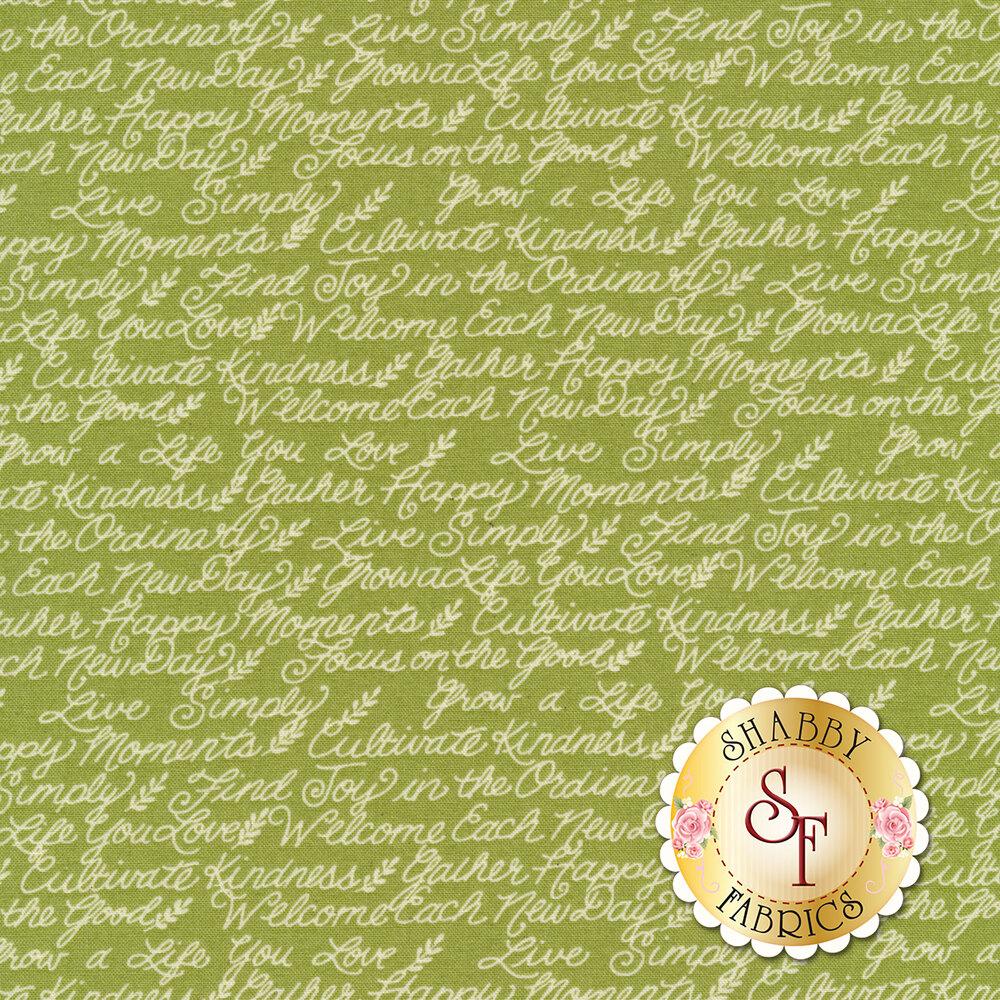 Ivory motivational phrases on green | Shabby Fabrics