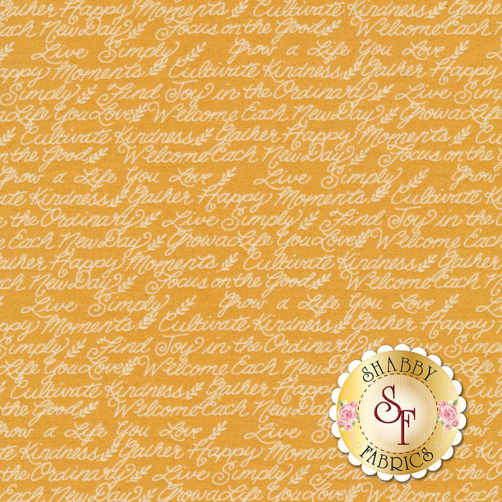 Ivory motivational phrases on mustard | Shabby Fabrics